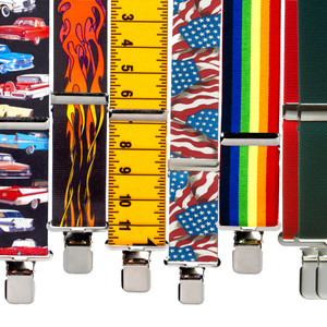 Big & Tall 1.5-Inch Novelty Finger Clip Suspenders - All Designs