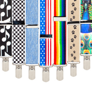 Big & Tall 1.5-Inch Novelty Pin Clip Suspenders - All Colors