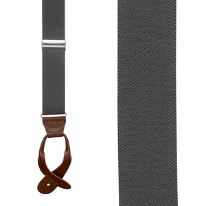 1.25 In Wide Button Suspenders in Dark Grey with Brown Leather - Front View