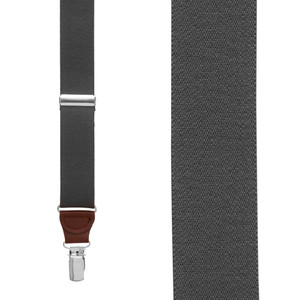 1.25 Inch Wide Y-Back Clip Suspenders in Dark Grey with Brown Leather - Front View