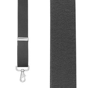 Front View - 1.5 Inch Wide Trigger Snap Suspenders - DARK GREY