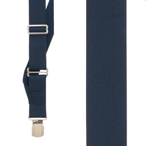 Navy Side Clip Suspenders, 1.5-Inch Wide - Pin Clip Front View