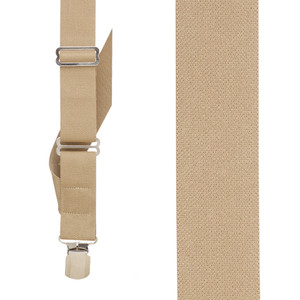 Tan Side Clip Suspenders, 1.5-Inch Wide - Pin Clip Front View
