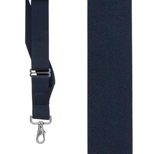 Navy Side Clip Suspenders with Trigger Snap - Front View