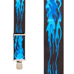 Blue Flames Suspenders - Front View