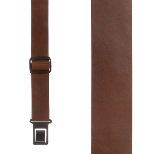 Perry Suspenders Leather Suspenders in Brown - Front View