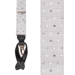 Silk Polka Dot Convertible Suspenders in Grey - Front View