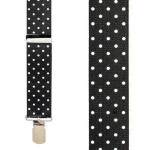 Polka Dot Suspenders in White- Front View