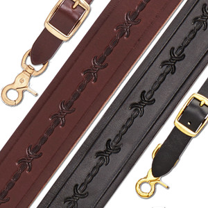 Barbed Wire 1.5 Inch Wide Western Leather Suspenders - All Colors