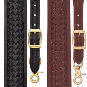 Basket Stamped 1.5 Inch Wide Western Leather Suspenders - All Colors