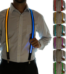 Model wearing suspenders - Choose colors for each strap!