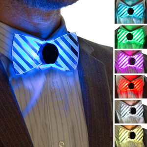 Neon Light Up Bow Tie Front View All Colors