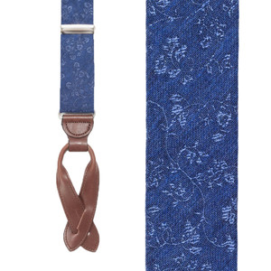 Navy Floral Silk Suspenders - Button Front View