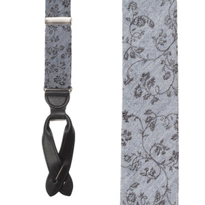 Grey Floral Silk Suspenders - Button Front View