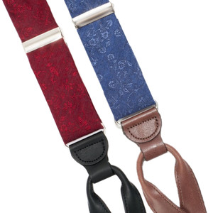 Floral Silk Suspenders - Button Red and Blue Front View