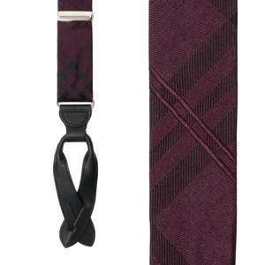 Silk Plaid Suspenders in Purple - Front View