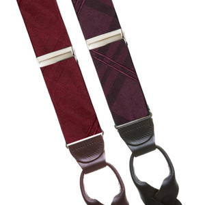 Plaid Silk Button Suspenders - All Colors