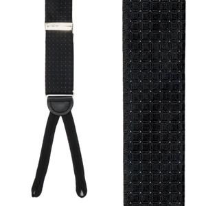 Black Andora Check Silk Suspenders - Front View