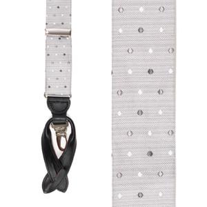 Silk Polka Dot Suspenders - Front View
