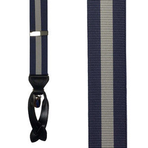 Blue/Grey Convertible Stripe Suspenders - Front View