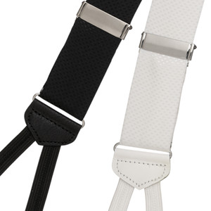 Jacquard Silk Pin Dot Suspenders - Runner End - Black and White Front View