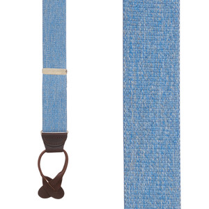1.5 Inch Wide Button Suspenders in Denim - Front View