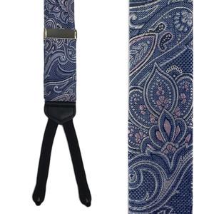 Paisley Silk Suspenders in Navy - Front View