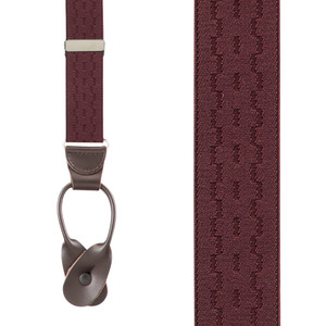 Jacquard New Wave Suspenders in Burgundy - Front View