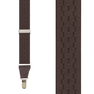 Jacquard New Wave Clip Suspenders in Brown - Front View