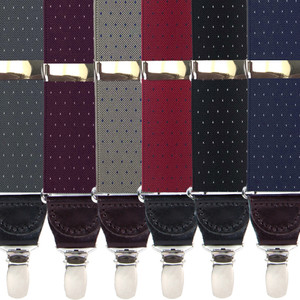 Woven Pin Dot Clip Suspenders - All Colors
