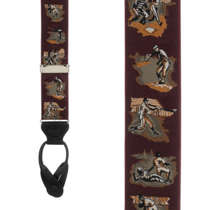 Vintage Ribbon America's Pastime Suspenders - Front View