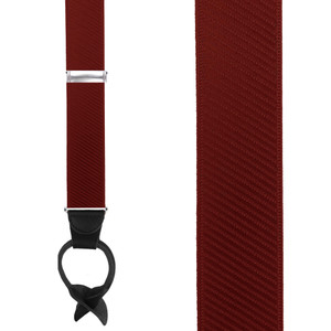French Satin Twill Suspenders in Wine - Front View