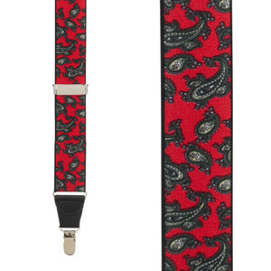 Paisley suspenders in Red - Front View