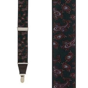 Paisley Drop Clip Suspenders in Green - Front View
