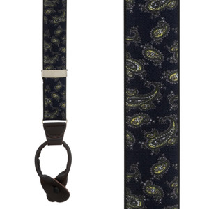 Paisley Button Suspenders in Navy Blue - Front View