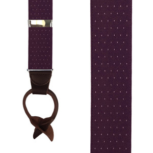Burgundy Woven Pin Dot Suspenders - Front View