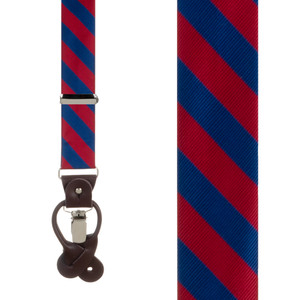 Red & Navy Striped Suspenders - Front View