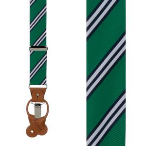 Kelly & Navy Multi-Stripe Suspenders - Front View