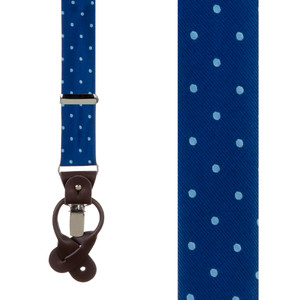 Navy & Copenhagen Polka Dot Suspenders - Front View