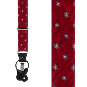 Snowflakes on Red Suspenders - Front View