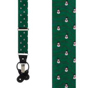 Snowmen on Green Suspenders - Front View