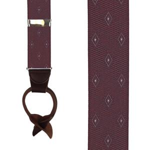 Burgundy Jacquard Woven Diamond Suspenders - Front View