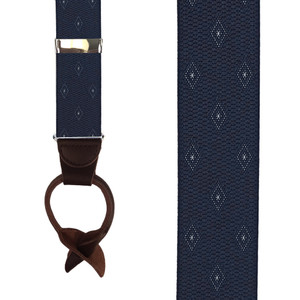Navy Jacquard Woven Diamond Suspenders - Front View
