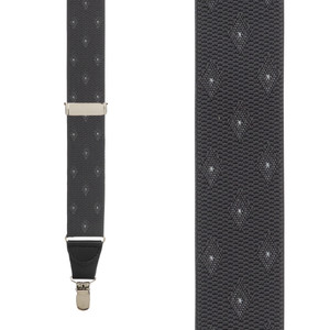 Jacquard Woven Diamond Suspenders in Grey - Front View