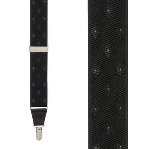 Olive Jacquard Woven Diamond Suspenders - Front View