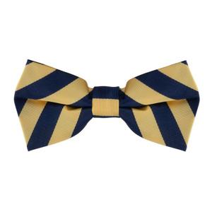 Corn & Navy Striped Bow Tie