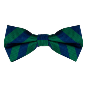 Navy & Lime Striped Bow Tie