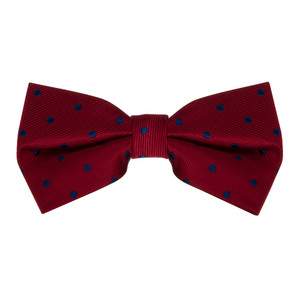 Red & Navy Polka Dot Bow Tie