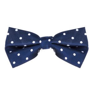 Navy & White Polka Dot Bow Tie