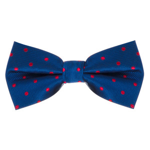 Navy & Red Polka Dot Bow Tie